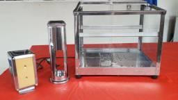 Estufa para salgados elétrica + porta-guardanapo + porta-canudo