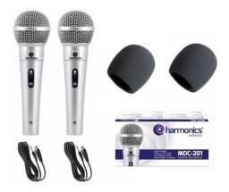 Microfone Profissional kit com 2 Dynamic Weisre Dm-401