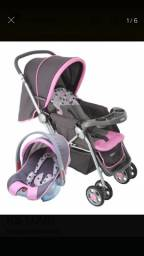 Carrinho e bebê conforto rosa