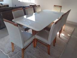 Mesa ETIOSS de 8 cadeiras de madeira maciça pronta entrega