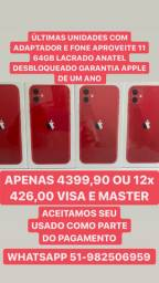 Mundicell iphone 11 64gb lacrado anatel desbloqueado garantia apple de um ano