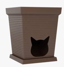 Vaso de planta em polietileno com casa de gato pet cat