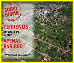 Vende-se 4 Terrenos em Arara, próximo a Pista Principal