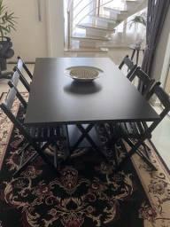 Mesa em madeira 08 cadeira