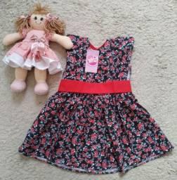 Vestido infantil tricoline estampada algodão evangélica bebê