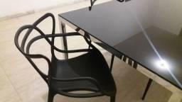 Mesa jantar cromada com tampo de vidro