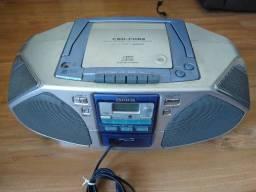 Som com rádio, cd e adaptação para celular mp3