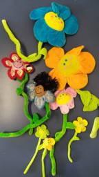 Flores em pelúcia kit com 6