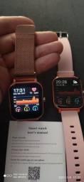 Smartwatch P9 pró faz ligação com 2 pulseiras