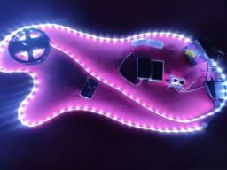 Central digital AJK Com Fita Led RGB Com 5 Metros ( ritmo da música ). Som Automotivo.
