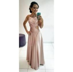 Vestido Rosé com aplicação em pérolas