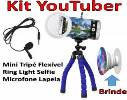 Kit Youtuber Tripé Flexível, Microfone Lapela, Ring Light Selfie. Brinde: Socket Pocket