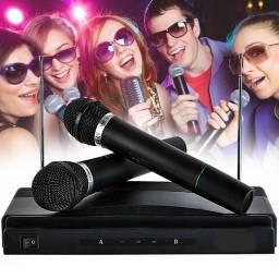 Título do anúncio: 2 Microfone sem Fio Karaokê Profissional para Igreja Palestras e Reuniões