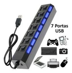 Hub USB 7 Portas 2.0 com Botão Liga/Desliga<br>