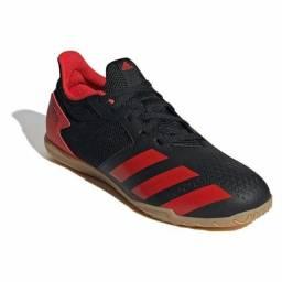 Chuteira Futsal Adidas Predator 20 4 IN - Preto e Vermelho<br>NOVA