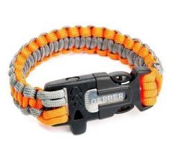 Pulseira Bracelete tático de Sobrevivência Paracord + pederneira + apito