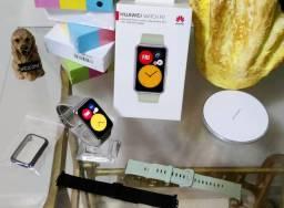Smartwatch Huawei Watch Fit com GPS mais capa e 2 pulseiras extras. Aceito Cartão!