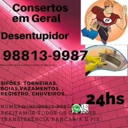 DESENTUPIMENTO 24h ACEITAMOS CARTÃO DE CRÉDITO EM  TODA MANAUS