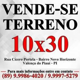 Terreno 10x30 em Valença do Piauí