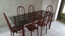 Mesa de jantar com 6 cadeiras baratinha