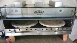 Forno pizza grill*luxo*a gás* refratário giratório motor bivolt *3 infravermelhos