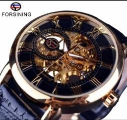 11f6946ce Relógio masculino mecânico luxo, engrenagens, aço inoxidável e couro.  Débito e Crédito