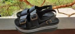 Sandália flatform preta como nova
