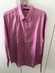 Camisa Social Masculina Rosa Fórum Manga Longa Tam 3 Sem Uso