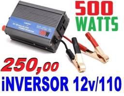 Inversor de 500w e 1000w Converte a Energia de 12v de veículos em 110v / Poucas Unidades