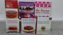 Livros diversos de confeitaria e culinária