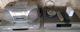 Lote aparelhos eletrônicos Mini System Videocassete Dvd