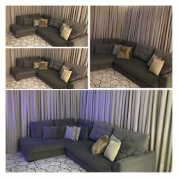 Sofá cinza com chaise fixa