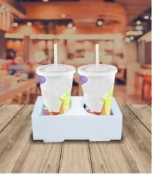 75 unidades - Suporte Porta copos Papelão para 2 copos Delivery