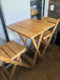 Mesa bistrô/churrasco c 2 cadeiras