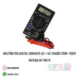 Multímetro Digital Corrente Ac + Dc Tensão 200m~1000v Bateria 9v Preto