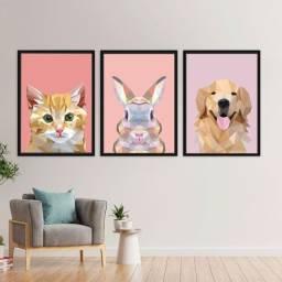 Quadro Decorativo Moderno Geométrico Animais (Cachorro, Gato e Coelho)