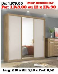 Guarda Roupa 3 Portas-Guarda Porta de Correr-Guarda Roupa Com Espelho-Roupeiro de Casal