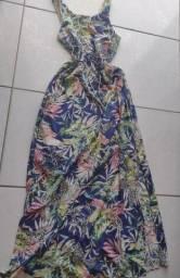Vestido longo em tecido