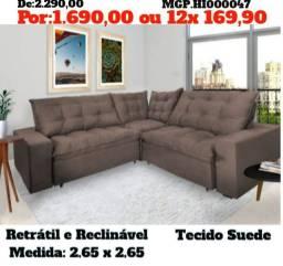 Sofa de Canto- Sofa Retratil e Reclinavel 2,65x2,65 - Sofa Novo - Sofa Barato