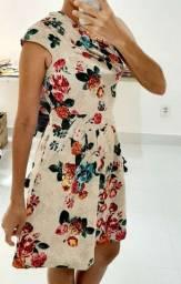 Vestido de algodao e malha floral