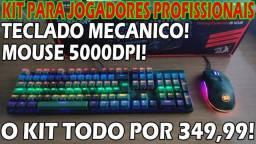 Kit Gamer Profissional! Teclado Mecânico+Mouse 5.000Dpi
