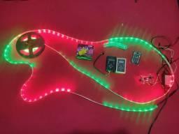 Central digital AJK Com Fita Led RGB Com 5 Metros ( ritmo da música ).Som Automotivo.