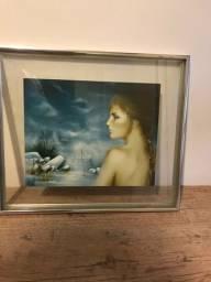 Título do anúncio: Quadro Perfil de Mulher, Vidro Sobre Vidro Com Moldura ( 36 x 42 ) cm