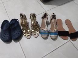 4 pares de sandálias e salto alto na promoção