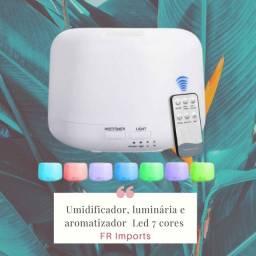Umidificador luminária e aromatizador Led 7 cores