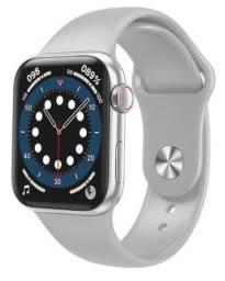 Relógio Smartwatch Hw12 Prata Tela Touch Pulseira Silicone Bluetooth Ligação Novo na Caixa