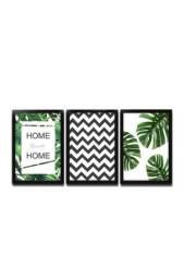 Kit 3  quadros decorativos com moldura para sala quarto home folhas folhagem