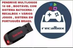 Multijogos USB Bootavel 16Gb com recalbox / batocera em pendrive