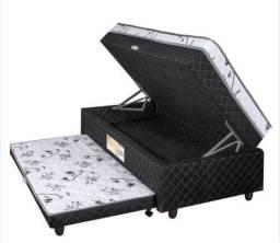 Cama solteiro box com baú e auxiliar (usada)