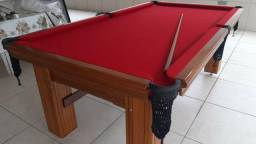 Mesa Madeira de Sinuca e Jantar Cor Imbuia Tecido Vermelho Mod. BAKU1573
